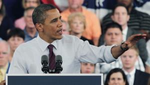 Barack Obama en meeting à Cincinnati, dans l'Ohio, le 16/7/12