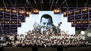 La troupe des Enfoirés sur la scène du Zénith de Strasbourg en janvier 2014.