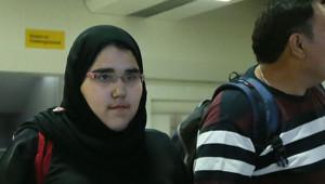 Wodjan Ali Seraj Abdulrahim Shahrkhani, judoka saoudienne, arrivant à Londres pour les JO, le 25 juillet 2012.