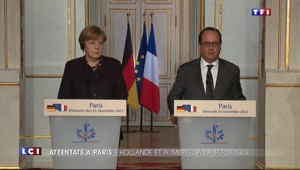 Attentats : François Hollande et Angela Merkel place de la République