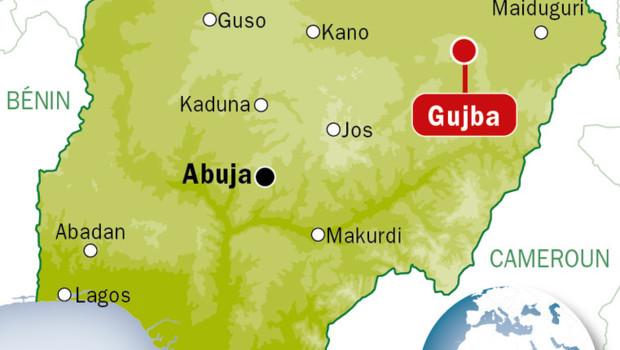 Carte de localisation de Gubja, au Nigeria