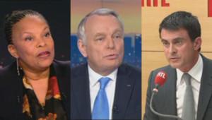 Christiane Taubira, Jean-Marc Ayrault et Manuel Valls.