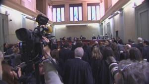 La salle du Tribunal de Bordeaux à l'ouverture du procès Bettencourt, le 26 janvier 2015.