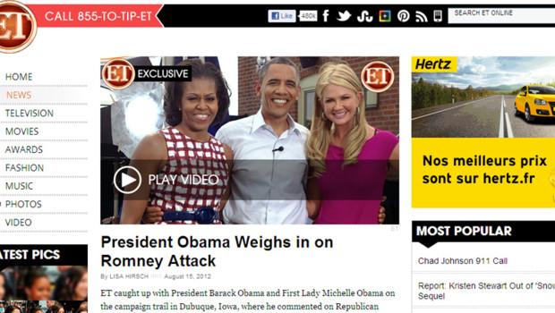 """Barack Obama répondant à la polémique sur sa """"campagne de haine"""", selon le mot de Romney (capture du site de Entertainment Tonight)"""