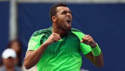 La joie de Jo-Wilfried Tsonga après sa victoire face au n°1 mondial Novak Djokovic en quart de finale du Masters 1000 de Toronto.