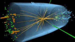 Simulation d'une collision dans le LHC avec apparition d'un boson se désintégrant en deux photons