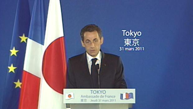 Nicolas Sarkozy à Tokyo après le séisme (31/03/2011)