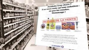 Montage : rayon de supermarché ; au premier plan, publicité de Leclerc (16 janvier 2008)