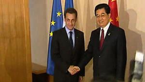 Nicolas Sarkozy et Hu Jintao.