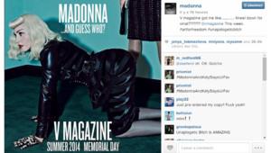 Madonna a posé en tenue de cuir pour le numéro d'été de V Magazine , aux côtés de Katy Perry.