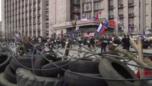 Ukraine : manifestants pro-russes à Donetsk, 9/4/14