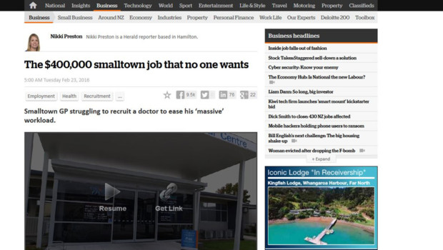 Capture du New Zealand Herald