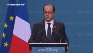 Hollande lors de sa conférence de presse à l'issue du G20 à Brisbane, le 16 novembre 2014.