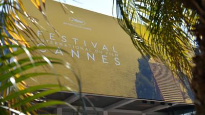 La façade du palais des festivals à Cannes avant l'ouvertture du 69e Festival International du Film