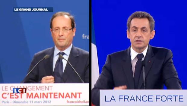 François Hollande et Nicolas Sarkozy le 13 mars 2012.