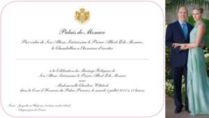 Albert II de Monaco Charlene Wittstock carton invitation mariage