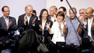 François Hollande, Laurent Fabius, Ségolène Royal, Martine Aubry, Bertrand Delanoë, Harlem Désir en août 2010.