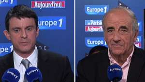 """Jean-Pierre Elkabbach recevait le ministre de l'Intérieur Manuel Valls pour le """"Grand rendez-vous"""" Europe 1-iTélé-Le Parisien du dimanche 9 décembre 2012."""