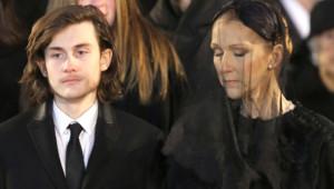 René-Charles et Céline Dion lors des obsèques de René Angélil