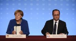 François Hollande et Angela Merkel lors d'une conférence de presse à l'Elysée le 2 octobre 2015