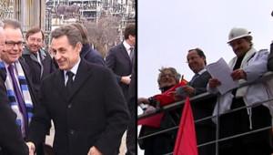 François Hollande à Florange et Nicolas Sarkozy à Petit-Couronne, le 26 février 2012.