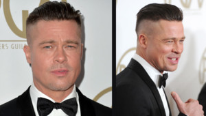 Brad Pitt et sa nouveau style sur le tapis rouge des Producers Guild Awards, le 19 janvier 2014 à Los Angeles.
