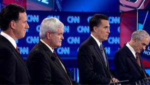 Primaires républicaines : débat du 26/1/12 (de g. à d. : Santorum, Gingrich, Romney et Paul)