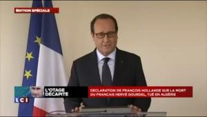 """Otage français décapité : """" La France ne cédera jamais au terrorisme"""", affirme Hollande"""