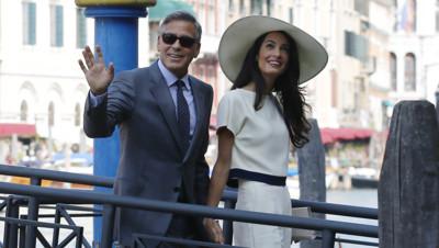George Clooney et Amal Alamuddin, en route vers la mairie de Venise, pour leur mariage civil, le 29 septembre 2014