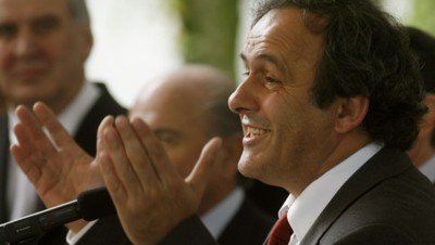 UEFA President Platini makes a speech during a reception at the Swiss government's guesthouse Lohn in the village of Kehrsatz near the Swiss capital of Bern