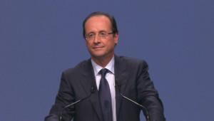 François Hollande lors de son discours d'investiture comme candidat à la présidentielle de 2012, le 22 octobre 2011.