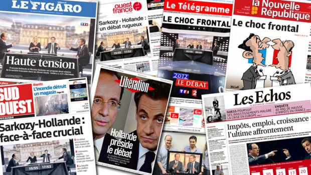 """Les """"Unes"""" de la presse du 3 mai 2012, après le débat d'entre-deux-tours de la présidentielle entre Nicolas Sarkozy et François Hollande"""