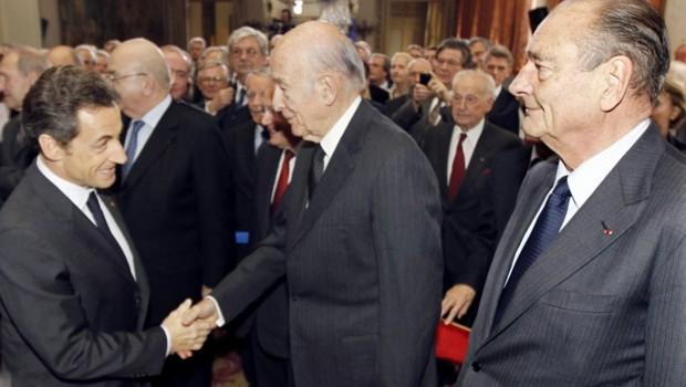 Nicolas Sarkozy, Valéry Giscard d'Estaing et Jacques Chirac.