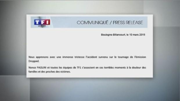communiqué TF1 crash tournage Argentine