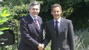 Nicolas Sarkozy et Gordon Brown à Evian (6 juillet 2009)