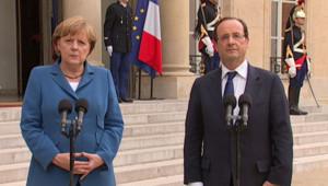 Angela Merkel et François Hollande à l'Elysée le 27 juin 2012.