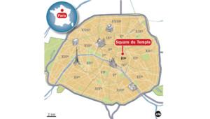 Carte de localisation du Square du Temple à Paris (3e).