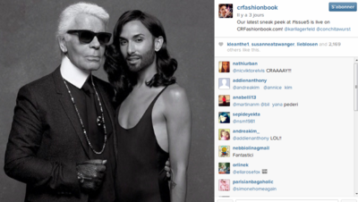 Conchita Wurst et Karl Lagerfeld pour le magazine CR Fashion Book, appartenant à la styliste française Carine Roitfeld