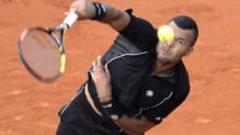 Jo-Wilfried Tsonga lors du premier tour de Roland-Garros, le 24 mai 2015.