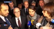 Najat Vallaud-Belkacem et Bernard Cazeneuve à Corbeil-Essonnes après l'incendie d'une école