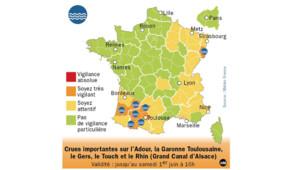 Carte Météo France vigilance orange inondations du 31 mai 2013, 16h.