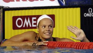 Laure Manaudou à l'issue du 400m nage libre au championnat du monde de Melbourne