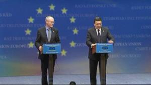 Image d'illustration. Herman Van Rompuy et José Manuel Barroso à Bruxelles (8 mai 2010)