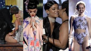 Lady Gaga, Rihanna, Katy Perry et Miley Cyrus lors des American Music Awards, le 24 novembre 2013.