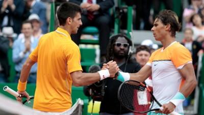 Novak Djokovic et Rafael Nadal lors du Master Series de Monte-Carlo 2015