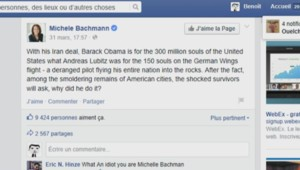 Le message de Michele Bachmann comparant Barack Obama à Andreas Lubitz.