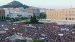 Les Grecs rassemblés devant le Parlement, le lundi 29 juin