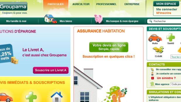Aperçu du site internet de Groupama.