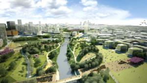 Vue d'artiste de la transformation du Parc olympique, avec Londres au fond