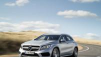 Mercedes-Benz GLA 45 AMG, version sportive au moteur L4 2,0 litres 360 ch présenté au Salon de Détroit 2014 et lancé en juillet.